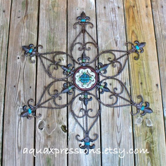 Metal Wall Decor Aqua Red Green Distressed Patio Painted Bright Christmas Outdoor Up Cycled Iron Art 39 99 Via Etsy