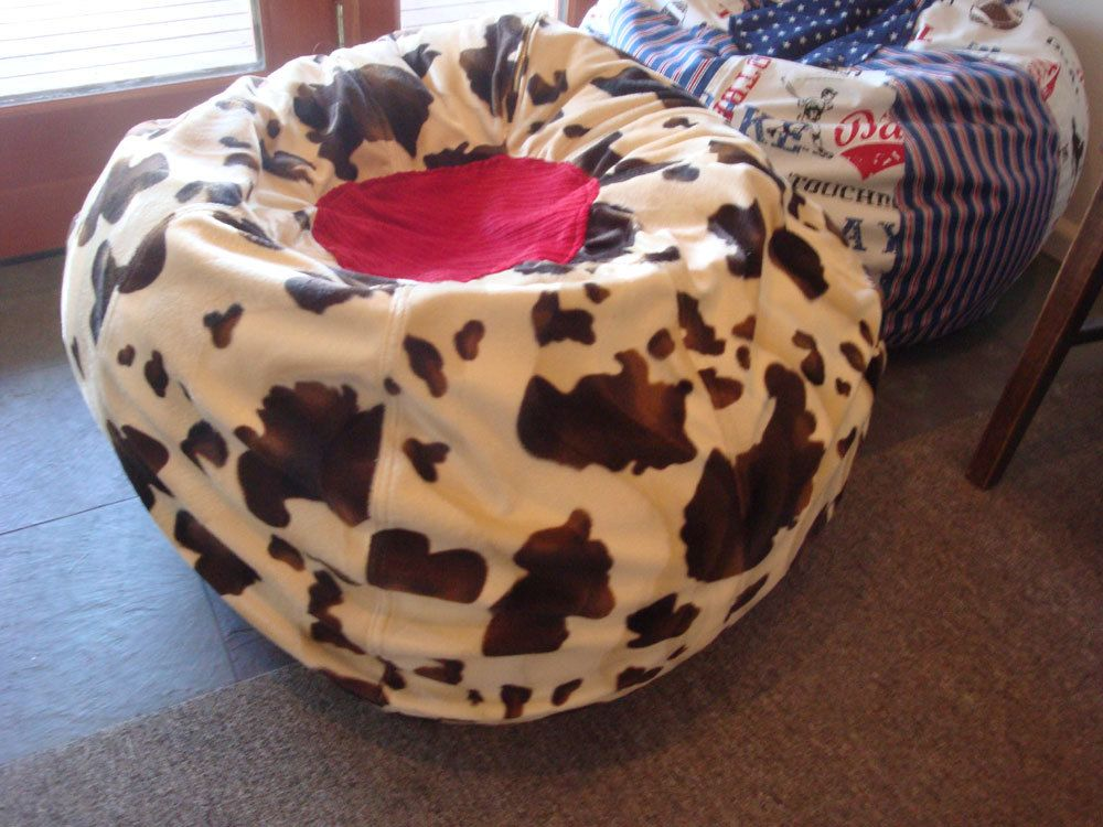 Swell Western Cowboy Cow Print Bean Bag Chair With Red Top By Bralicious Painted Fabric Chair Ideas Braliciousco