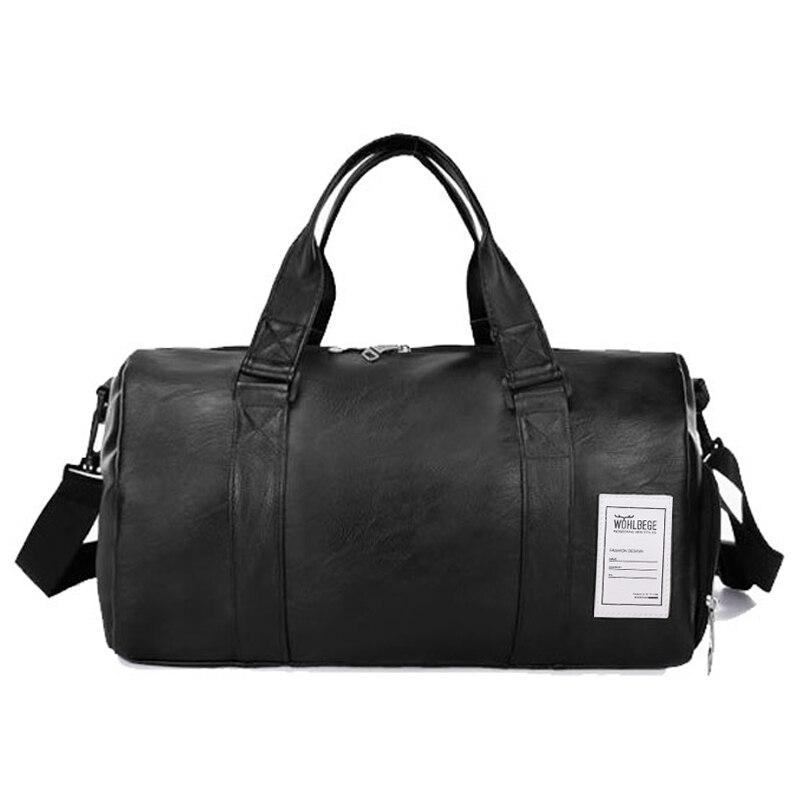 Men Weekend Outdoor Travel Bag Leather Waterproof Women Duffel Bag Large Capacity Couple Models Fitness Handbag Leather Travel Bag Duffle Bag Travel Duffel Bag Travel