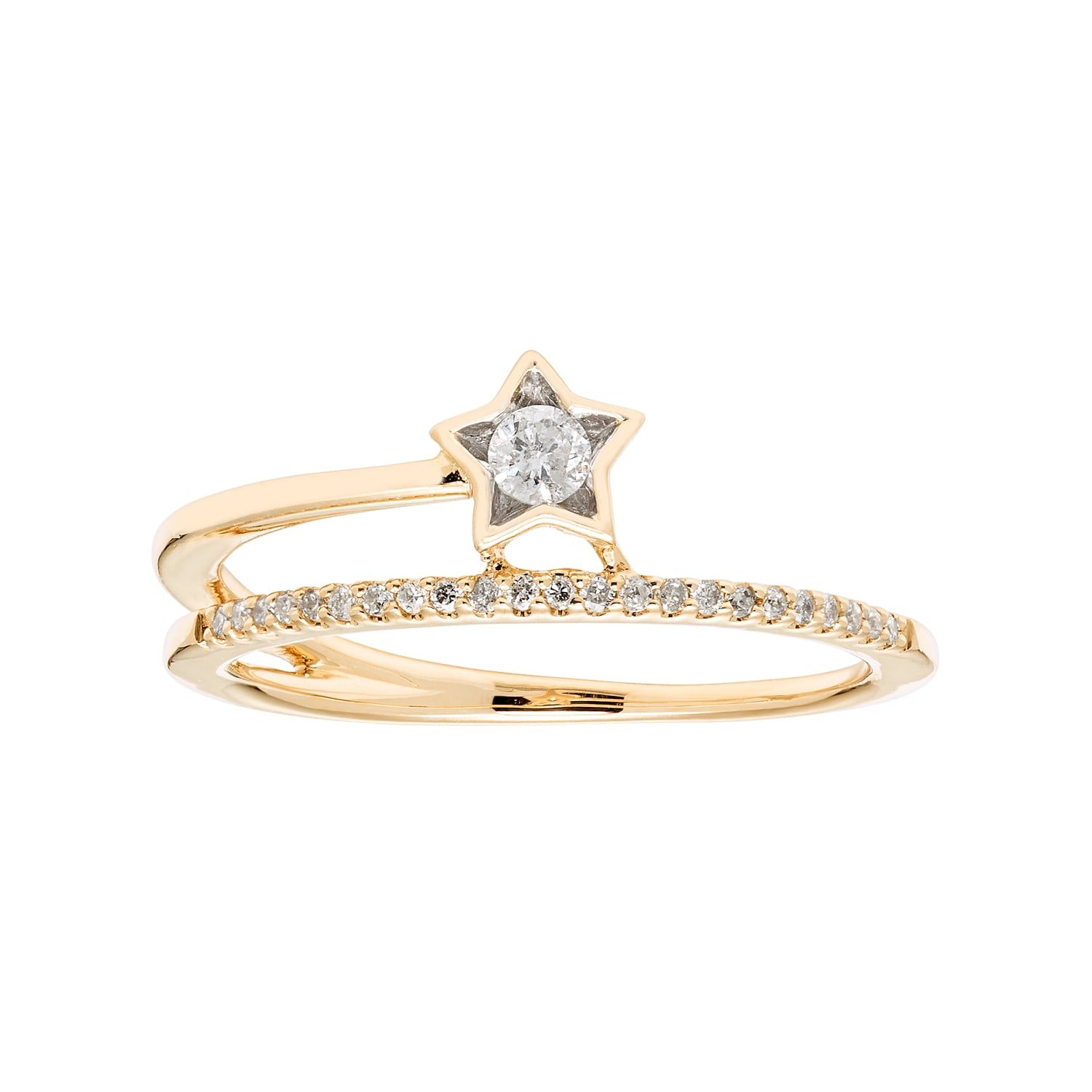 10k Gold 1 6 Carat T W Diamond Star Ring Diamond Star Star Ring 10k Gold