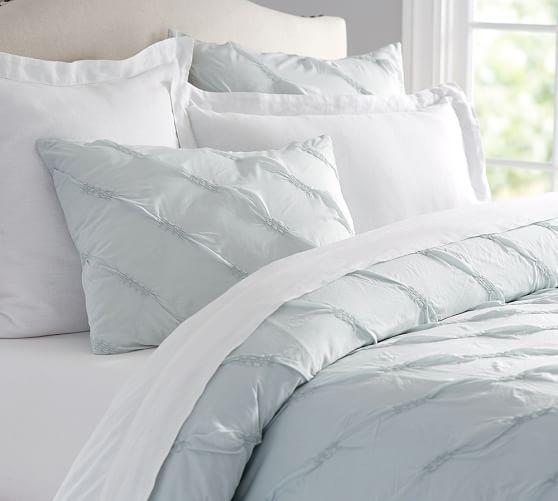 Lina Ruched Duvet Cover Shams Blue Bedding Bedroom Makeover Duvet Covers