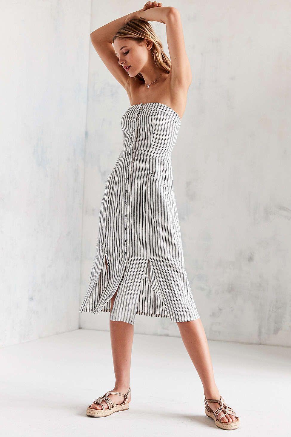 99e7459df119 Cooperative Tiffany Button-Down Strapless Midi Dress