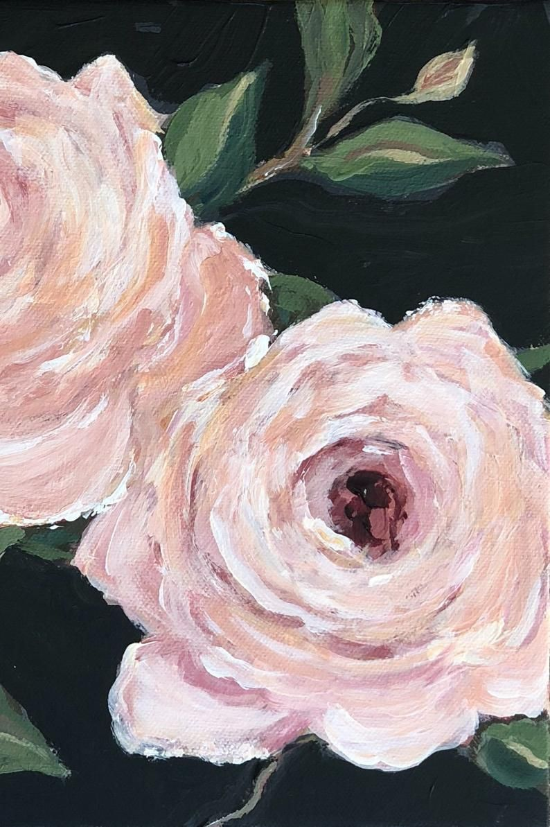 Original Painting Pink Roses With A Black Background Etsy Black Background Painting Diy Canvas Art Painting Black Canvas Paintings