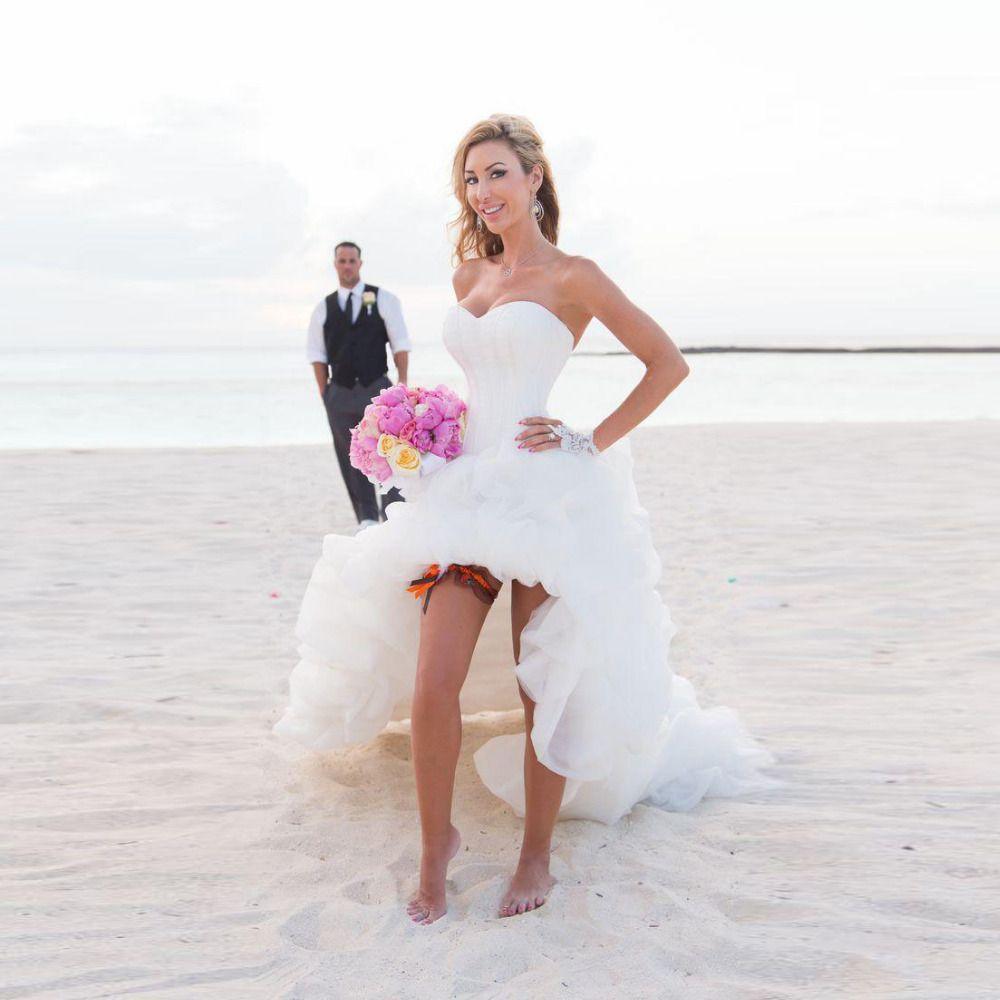 Click to Buy ucuc Beach Wedding Dresses Hi Low Pleated Vestido De