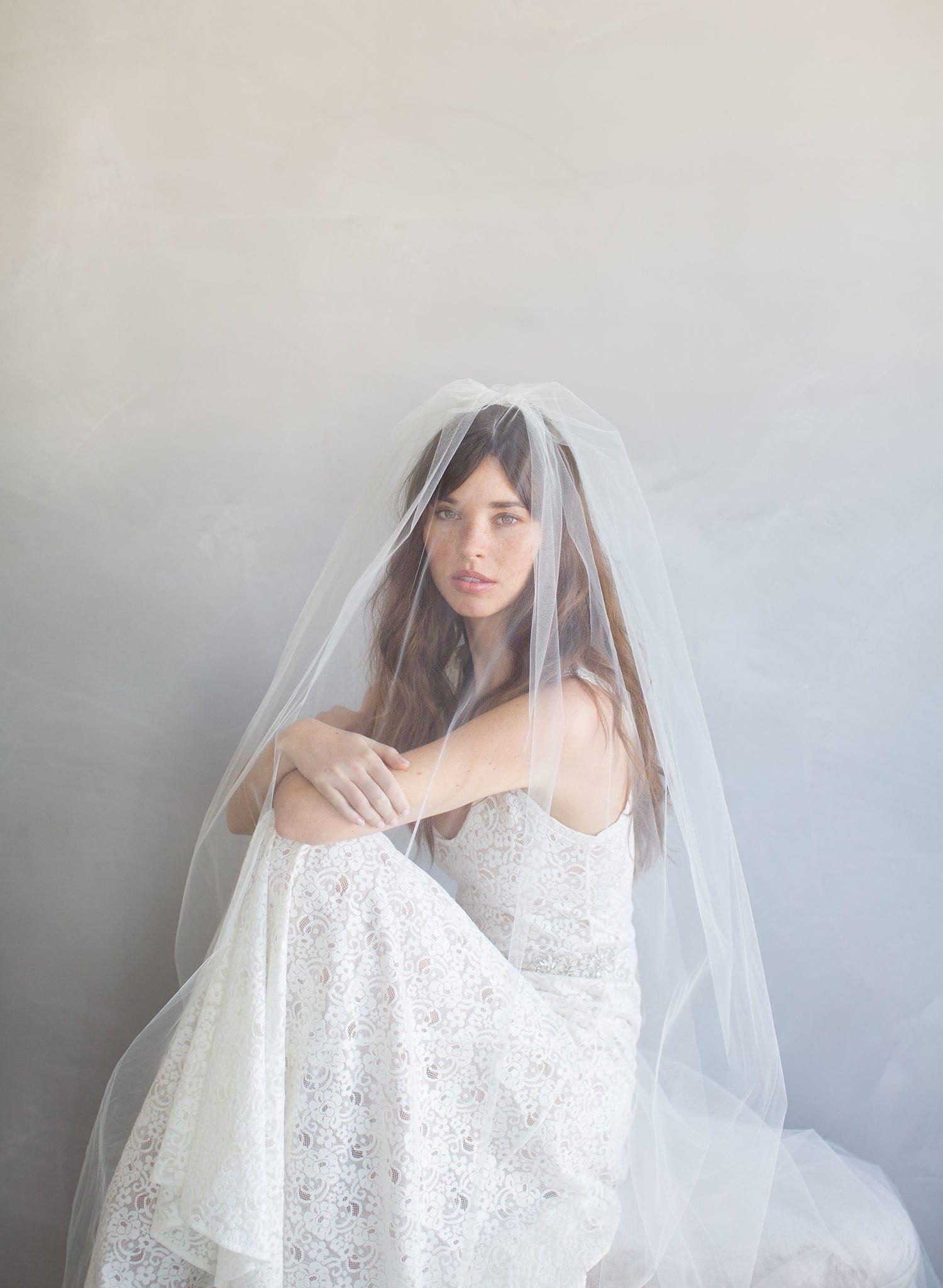 Bridal veil 2 piece simple gathered veil style 786