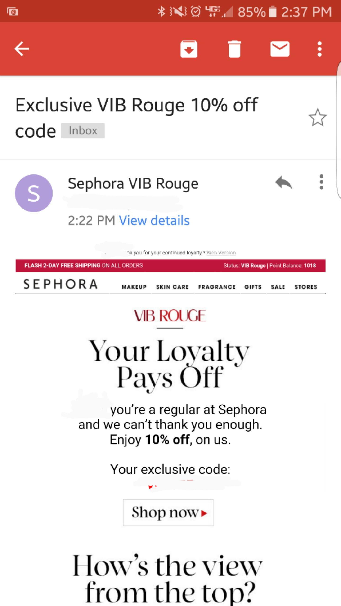 Sephora VIB Rouges: Anyone else receive a random 10% off email ...