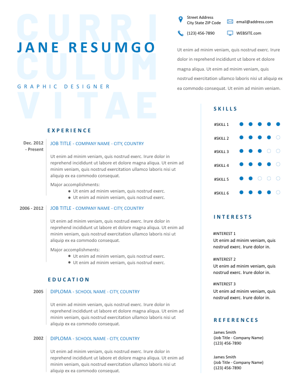 Tryphaina Professional Blue Resume Template Resumgo Com Resume Template Downloadable Resume Template Resume Layout