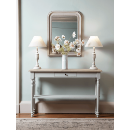 Slender And Elegant With A Stained Natural Wooden Top And Distressed Light Grey Painted Fra Gray Console Table Console Table Hallway Console Table Decorating