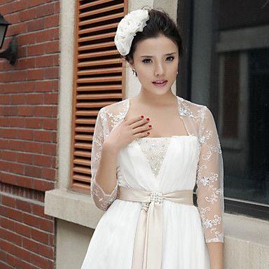 Nice 3/4-Length Sleeve Lace Evening/Wedding Wraps/Jacket – USD $ 35.88