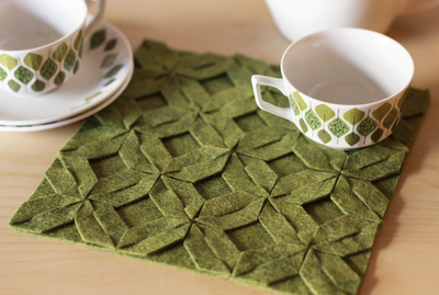 No sewing, no gluing, just lots of cutting goes into making this felt trivet