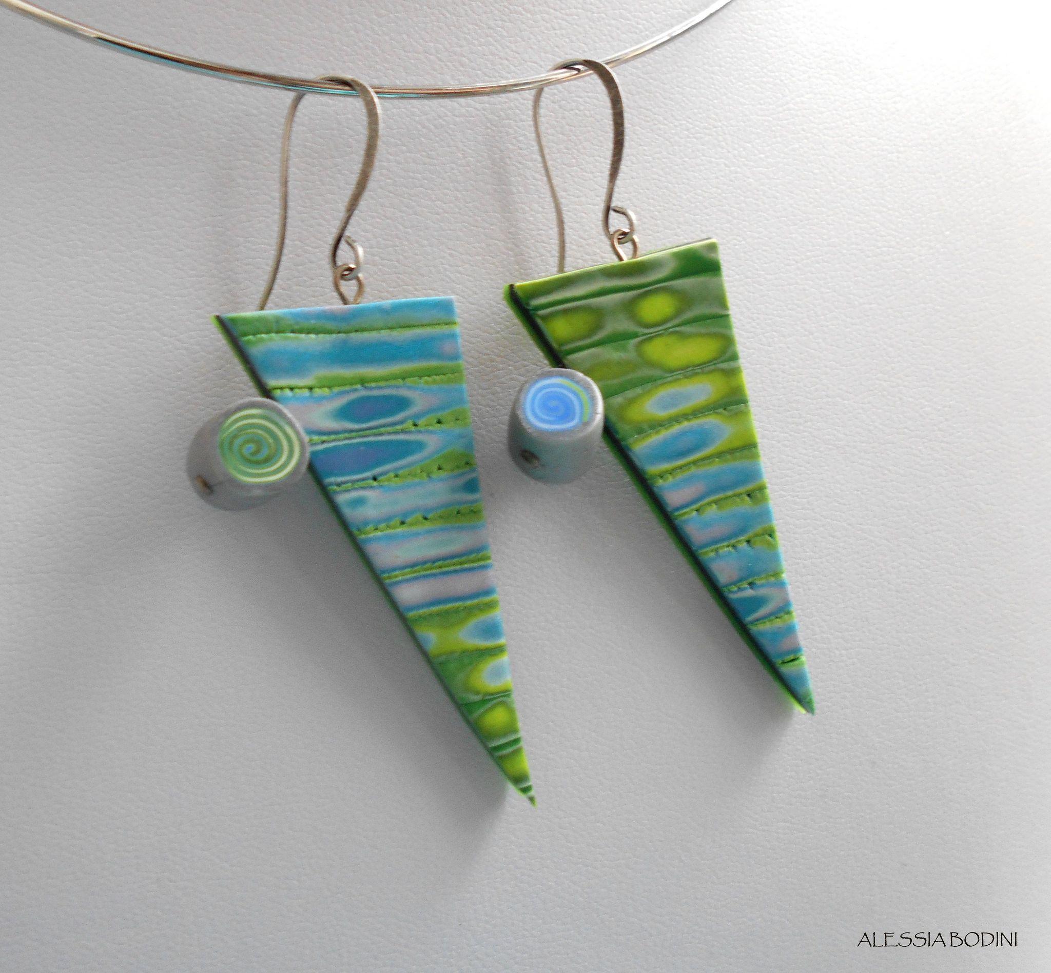 https://flic.kr/p/zkkAcQ | Green triangles | Polymer clay earrings