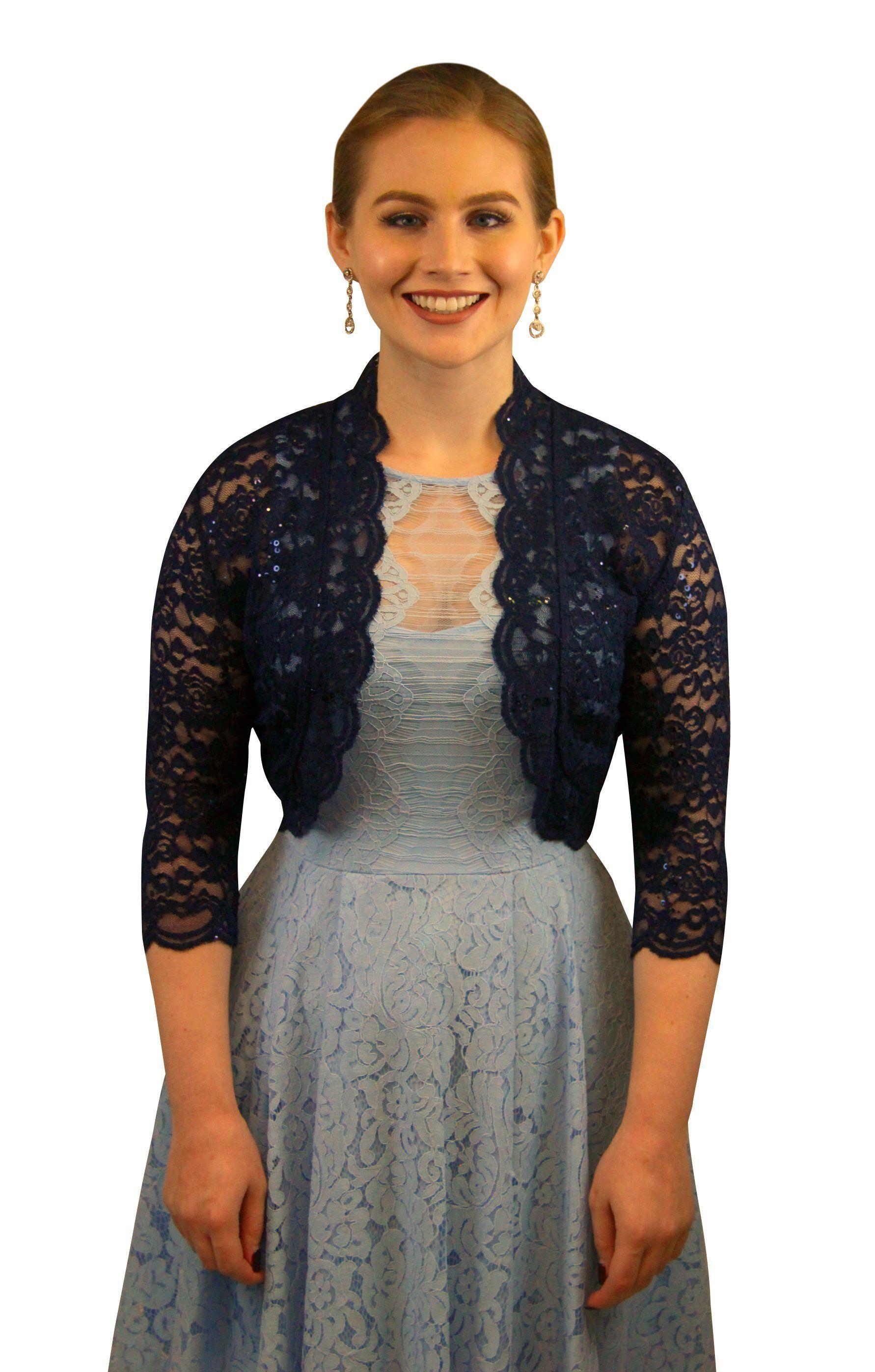 SleekTrends Women Elbow Sleeve Sequin Lace Bolero Jacket - Dressy