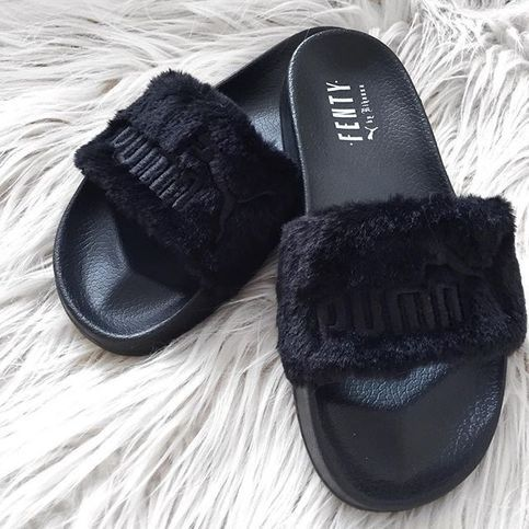 Rihanna Leadcat Fenty Faux Fur Slides, the third style to ...