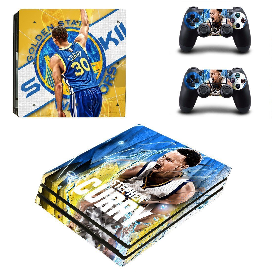 Golden state warriors ps4 pro edition skin decal for console and controllers