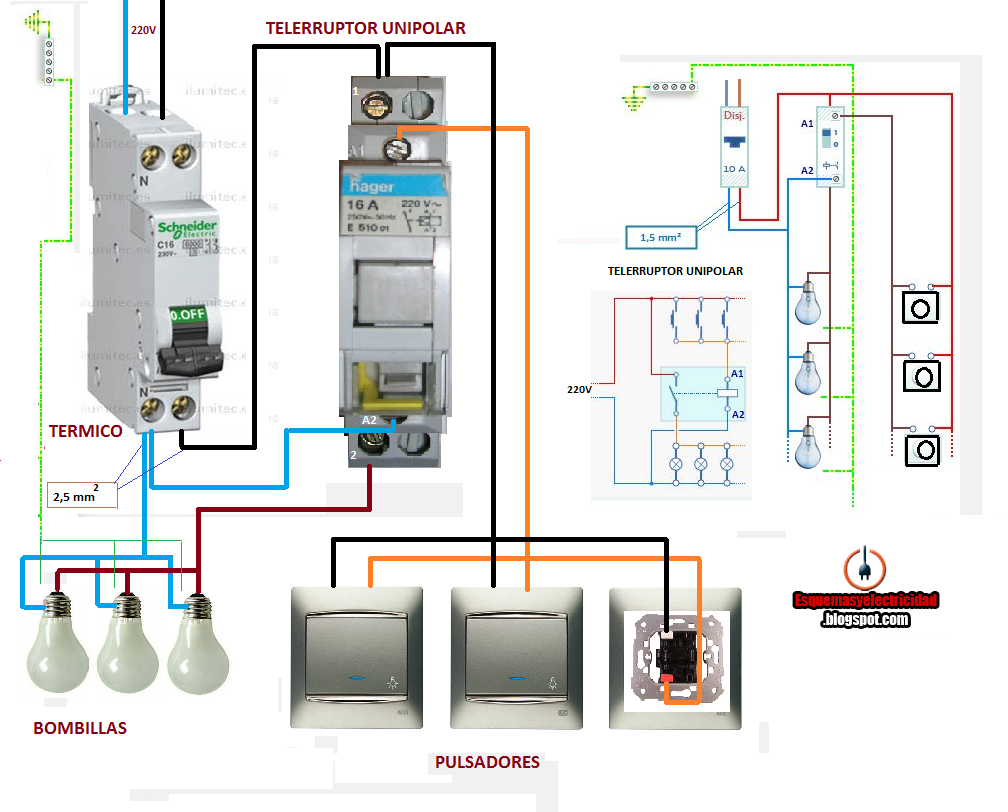 Esquemas el ctricos como conectar telerruptor unipolar for Como instalar una terma electrica