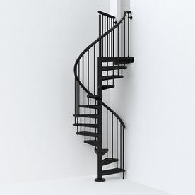 Best Arke Sky030 47 In X 10 Ft Black Spiral Staircase Kit 640 x 480