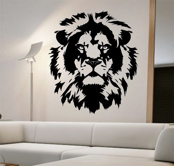 Lion Wall Decal Lion Face Vinyl design Sticker Art Decor Bedroom