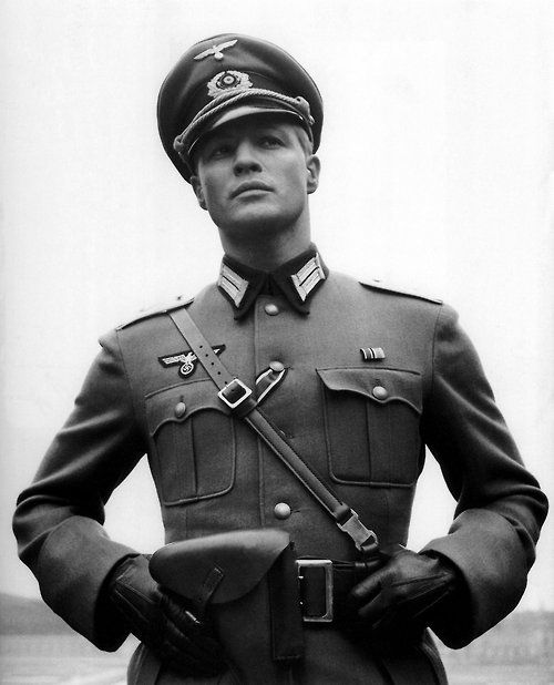 Marlon Brando as young German officer.  Photo from The Young Lions (1958).