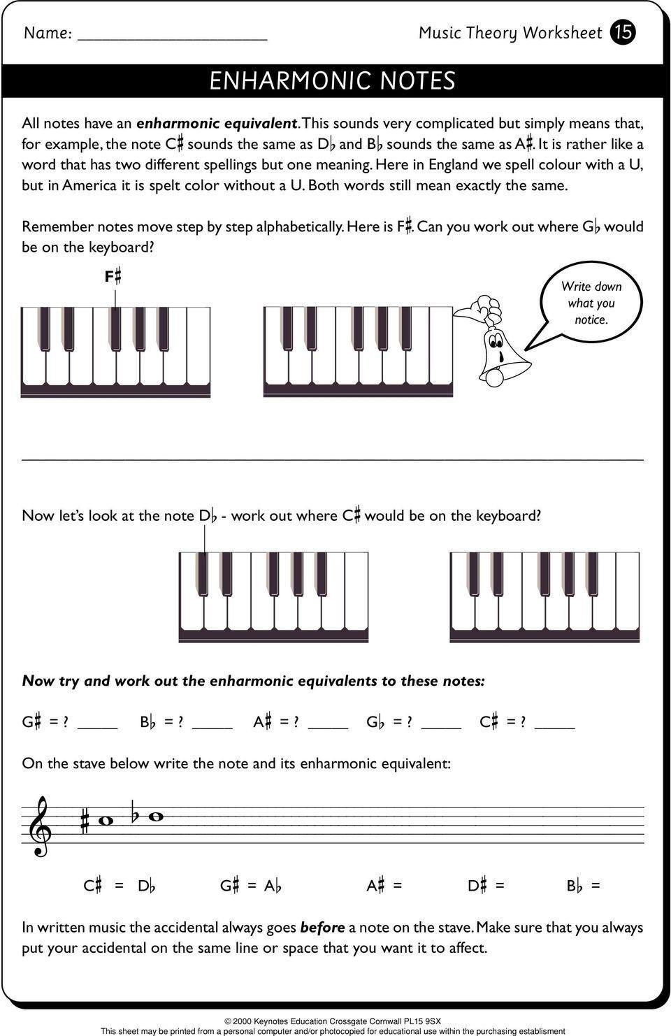 Enharmonic Notes Worksheet Answers Music Theory Worksheet Music Theory 1 Pdf Free Download In 2020 Music Theory Worksheets Worksheets Free Printable Worksheets