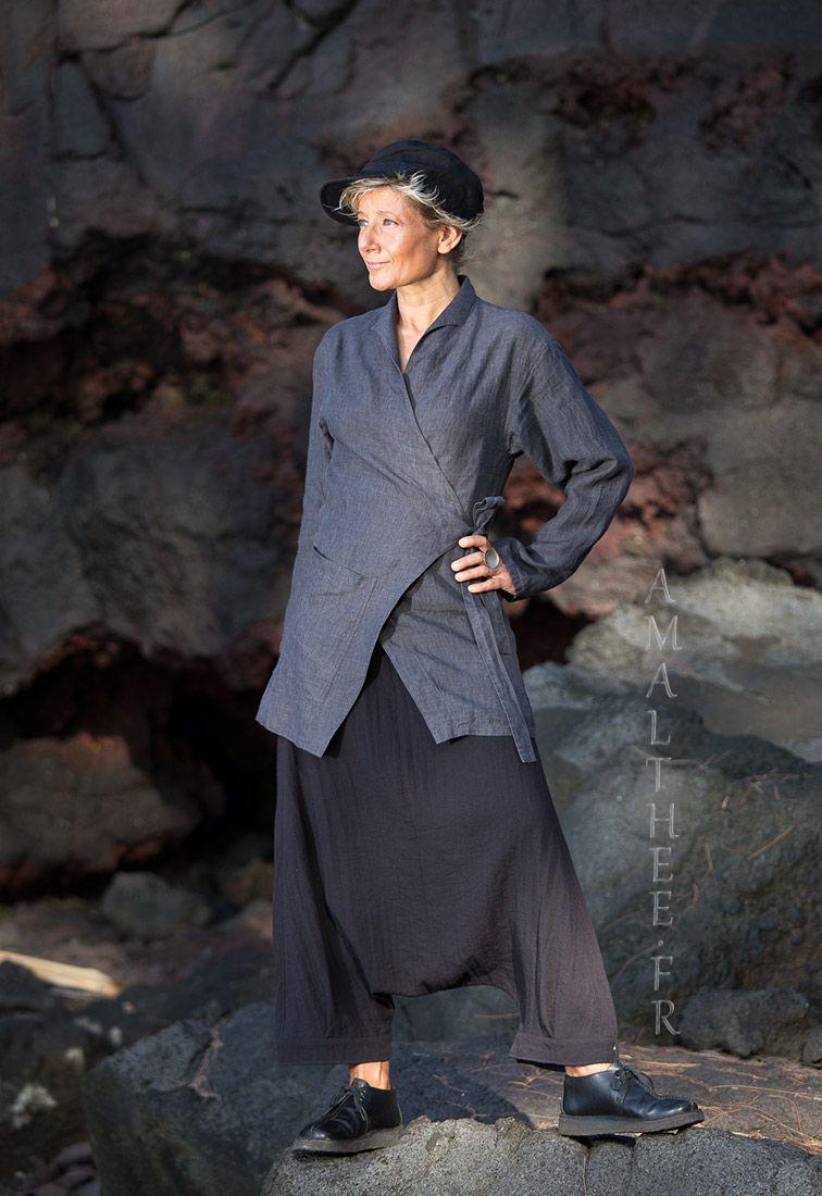 vêtements de créateurs en lin femme  veste cache coeur gris ardoise et sarouel  noir- - AMALTHEE CREATIONS- - n° 3434 3468104d9f97