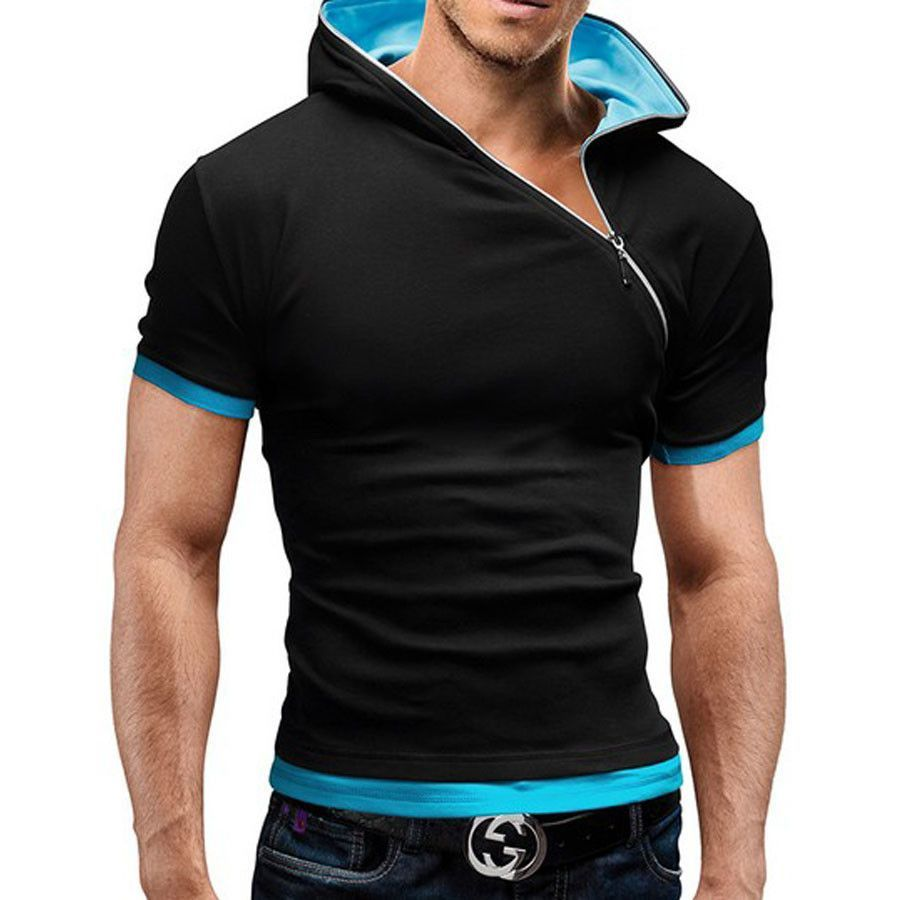Shirt design for man 2016 - 2016 New Summer T Shirt Men Inclined Zipper Design Hooded Man T Shirt Fitness Tshirt