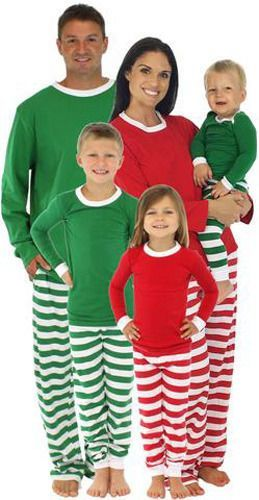 Christmas Family Women Men Sleepwear Cotton Pyjamas Pajamas Set Tops+Stripe  Pant 204e40fbb