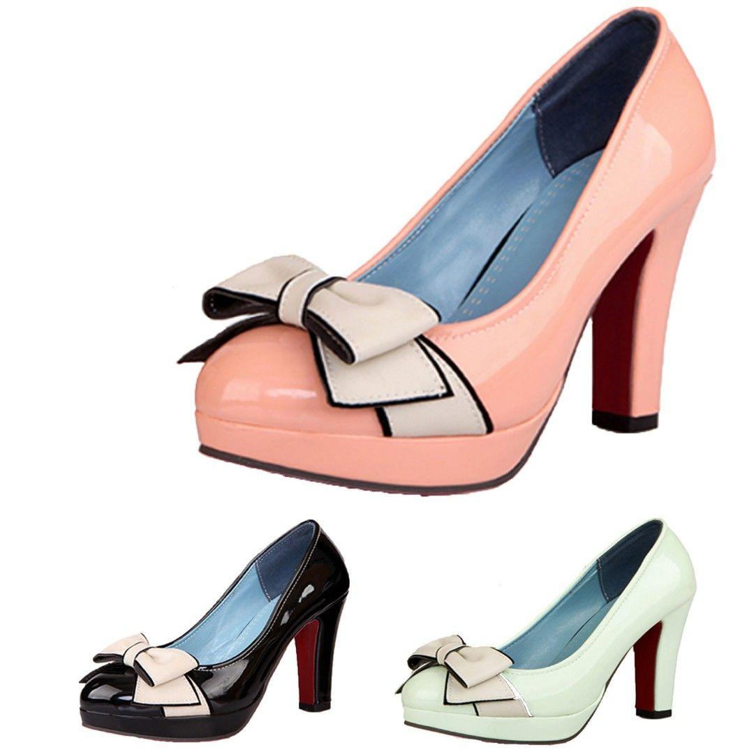 4a350651c8c2 蝴蝶結高跟鞋 VANCY 單鞋 糖果色 撞色 漆皮 粗跟鞋 防水台 女鞋 大碼 34 ...
