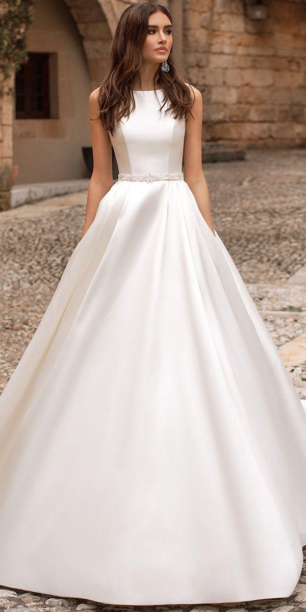 Decent Tulle & Satin Jewel Neckline A-line Wedding Dress With Beaded ...