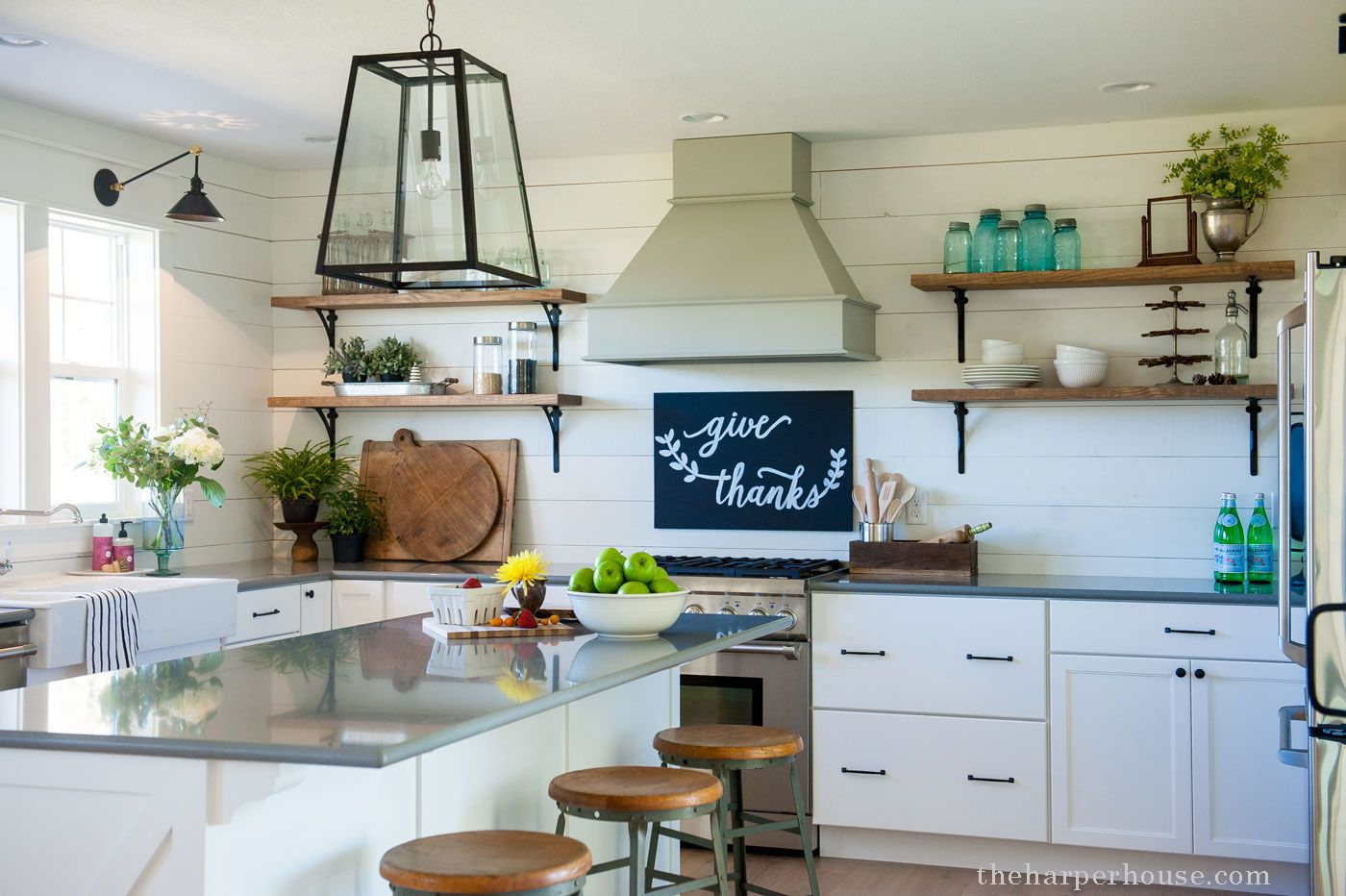 Sharing Our Fixer Upper Farmhouse Kitchen Reveal Featuring White Shaker Cabinets Whit Farmhouse Kitchen Design Old Farmhouse Kitchen Kitchen Cabinets For Sale