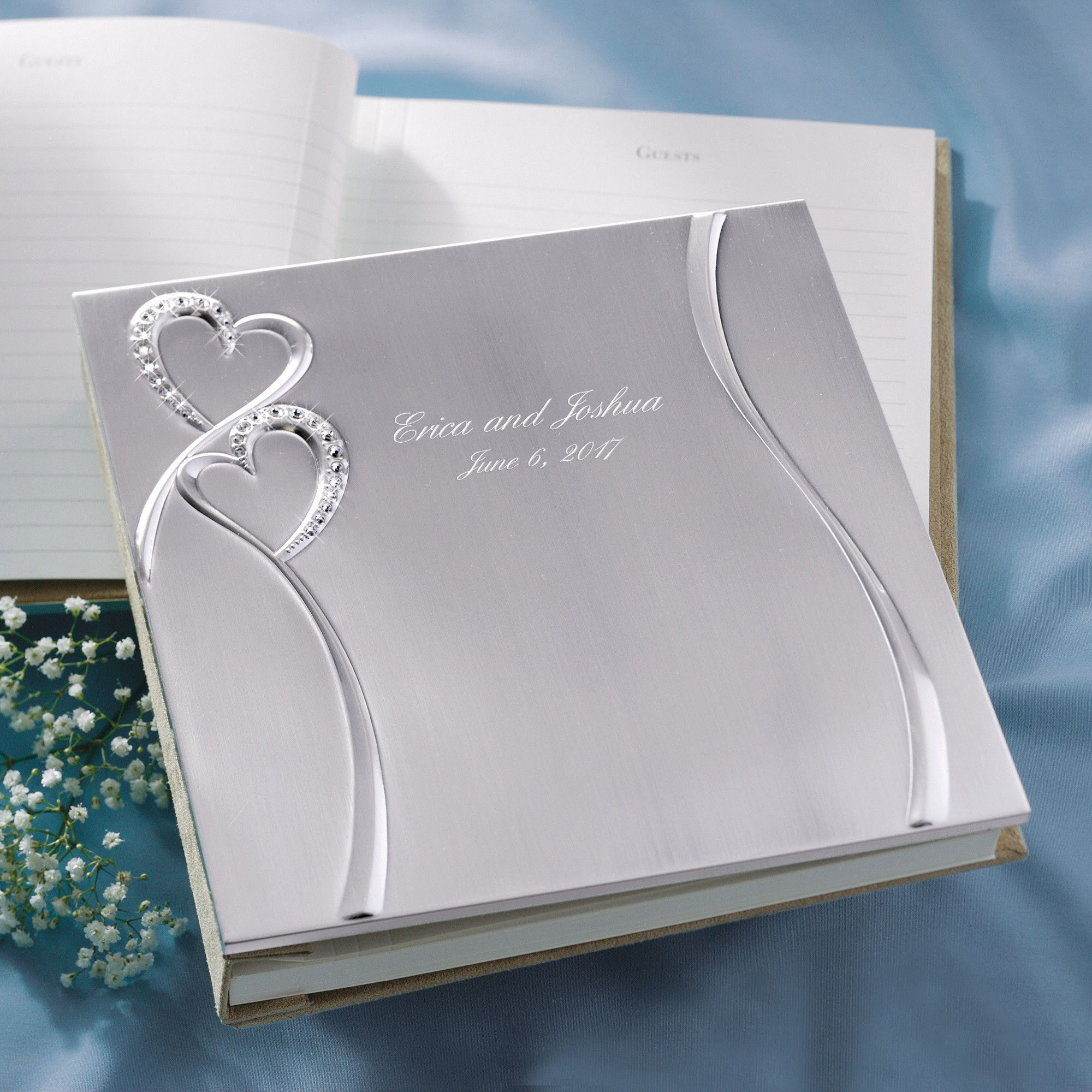 Twin Hearts Guest Book Wedding Reception Accessories