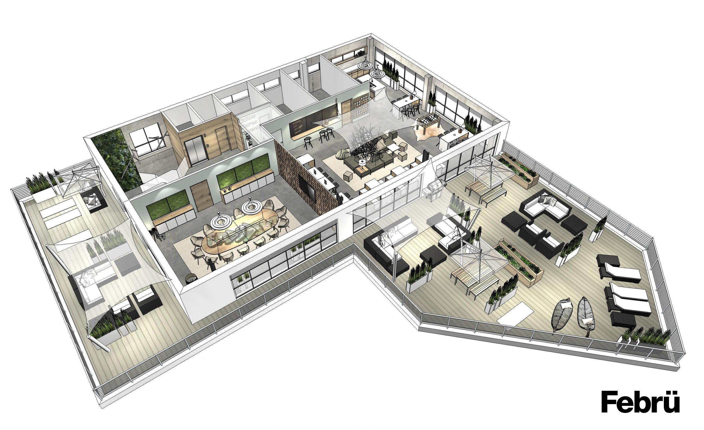 moderne burokonzepte grundriss, grundriss büro: die lounge- und konferenzebene verfügt über einen, Design ideen