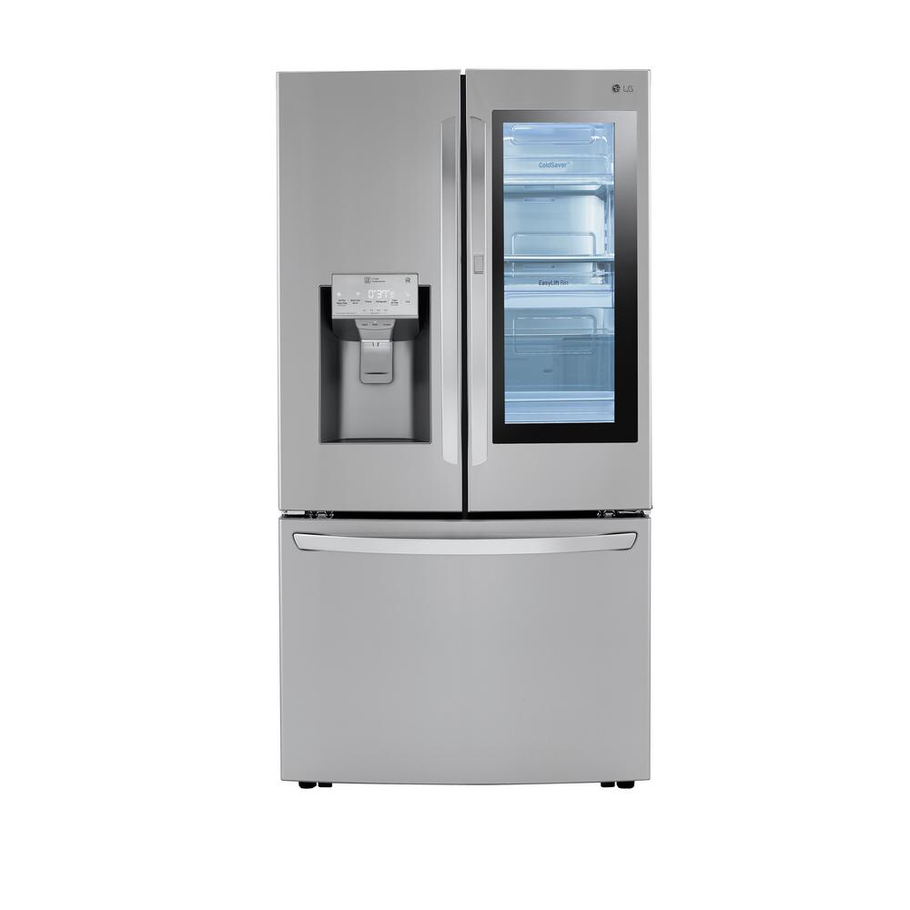Lg Electronics 24 Cu Ft 3 Door French Door Refrigerator With Craft Ice In Print Proof Stain French Door Refrigerator Lg French Door Refrigerator Refrigerator
