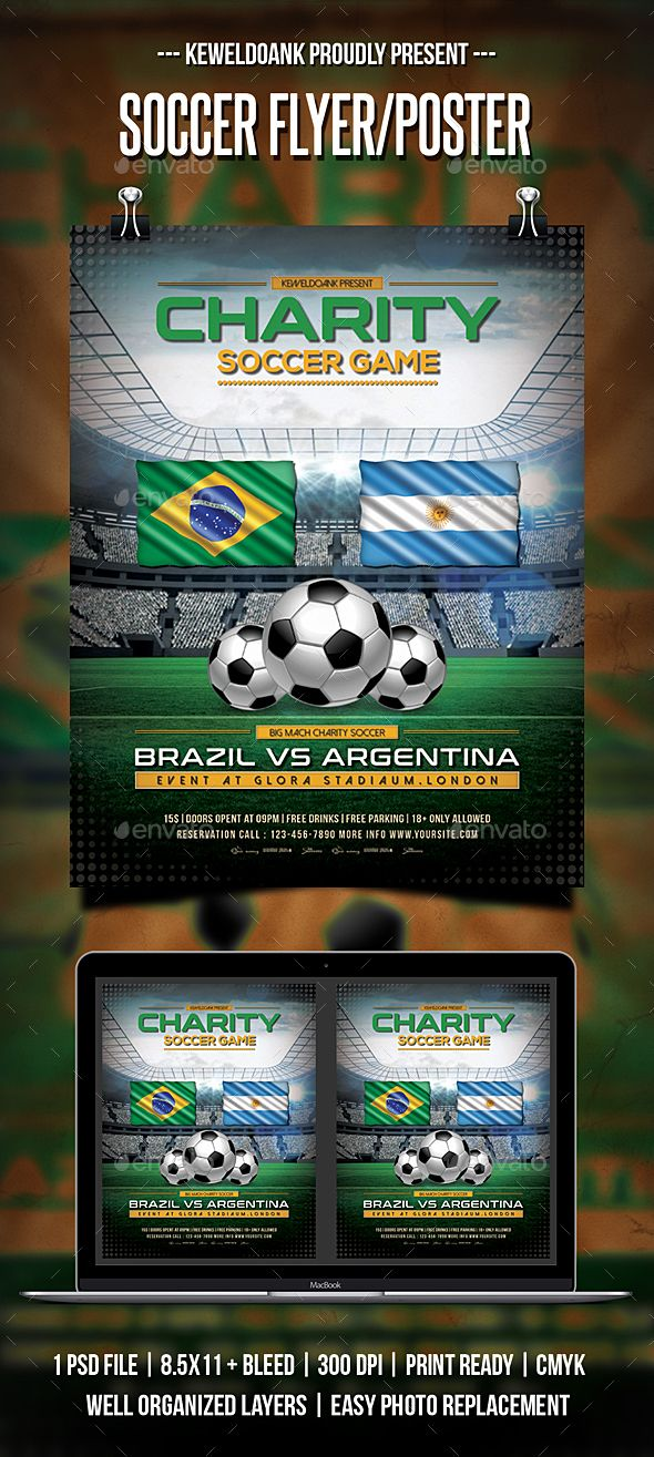 Soccer Flyer  Poster  Flyer Template Font Logo And Template