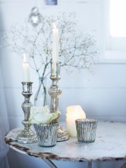 Bathroom Accessories: Four Mercuried Glass Tea Light Holders