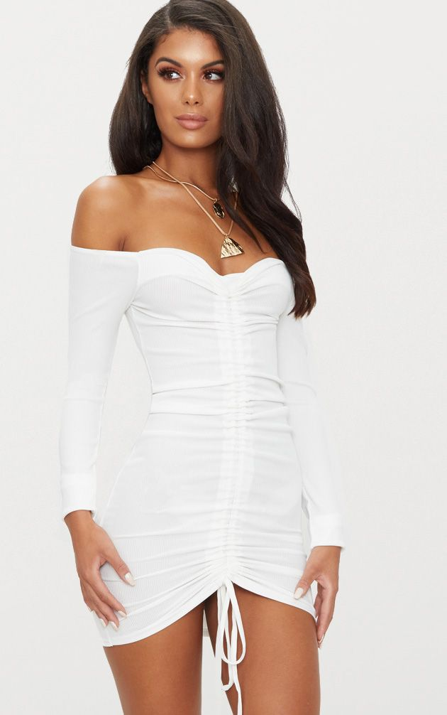 cbe9a04d1b7b6 White Ribbed Long Sleeve Bardot Ruched Bodycon Dress. Shop the range of  dresses today at PrettyLittleThing. Express delivery available. Order now
