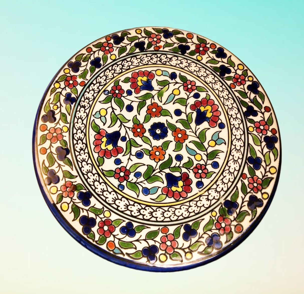 Large Decorative Ceramic Plates Red Floral Plate Wall Decor  Food Plate  Desert Tray