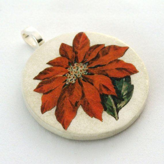 poinsettias on collectibles | Pendant, Poinsettia, Handmade Decoupaged, FREE SHIPPINGFree Shipping ...