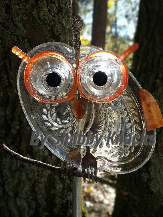 Whimsical Repurposed Owl By ShabbyKnacks On Etsy Garden Totems, Glass Garden  Art, Garden Crafts