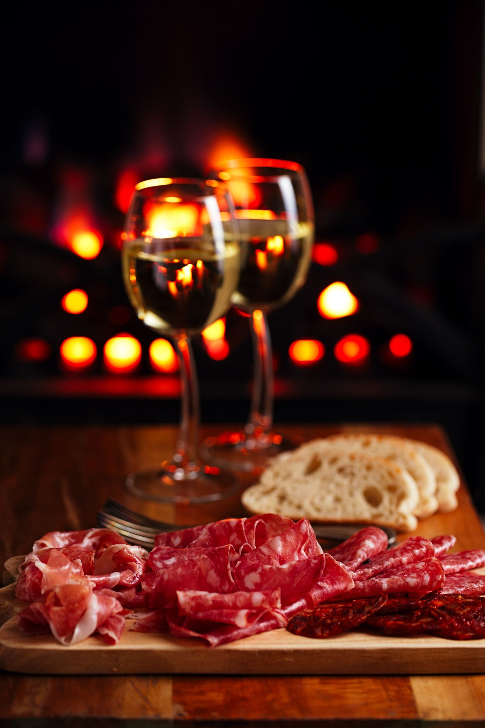 Meat Fireplace Wine Romantic Burger And Fries Wine And Dine Food