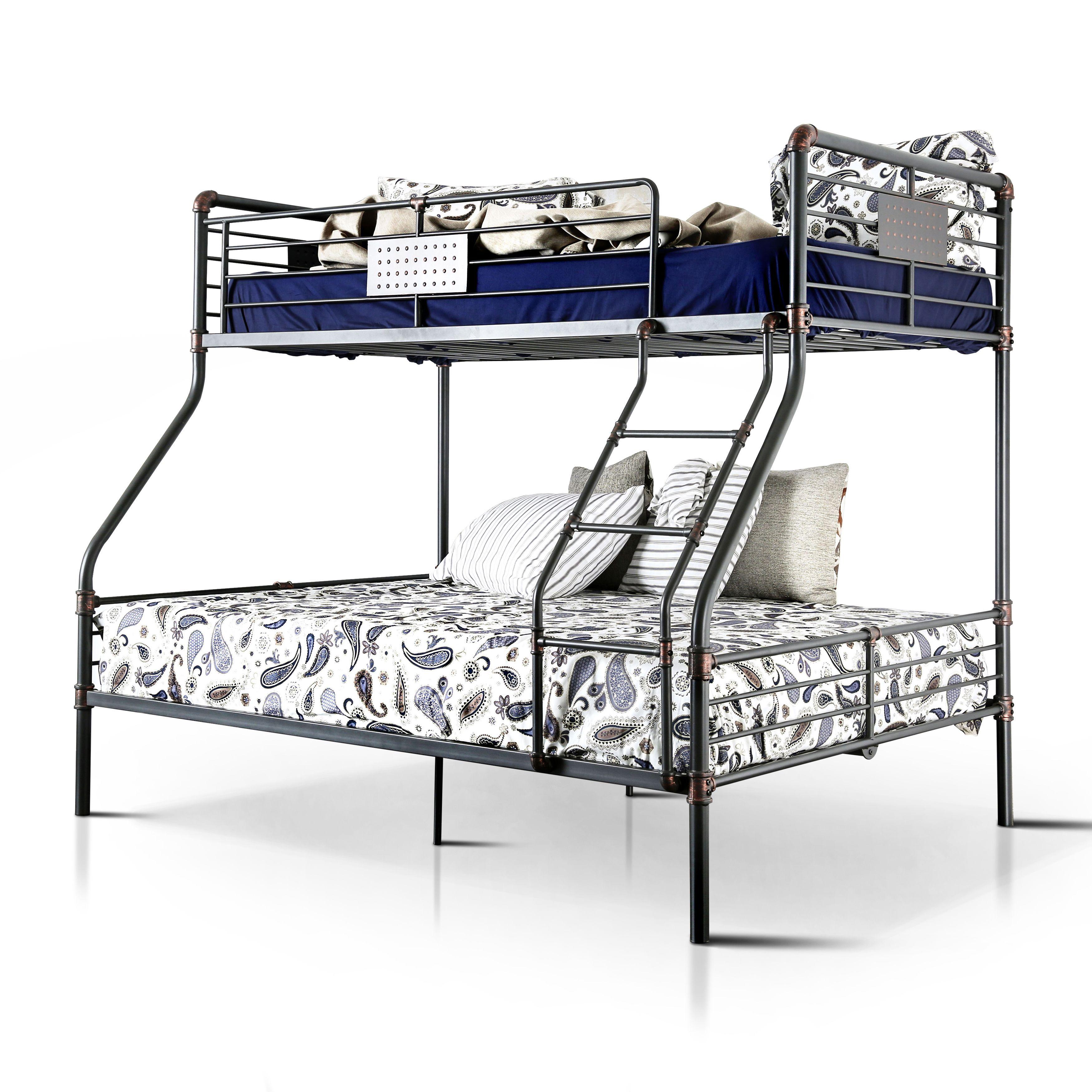 Loft bed with desk jordan's furniture  Furniture of America Herman Industrial Antique Black Twin over Full