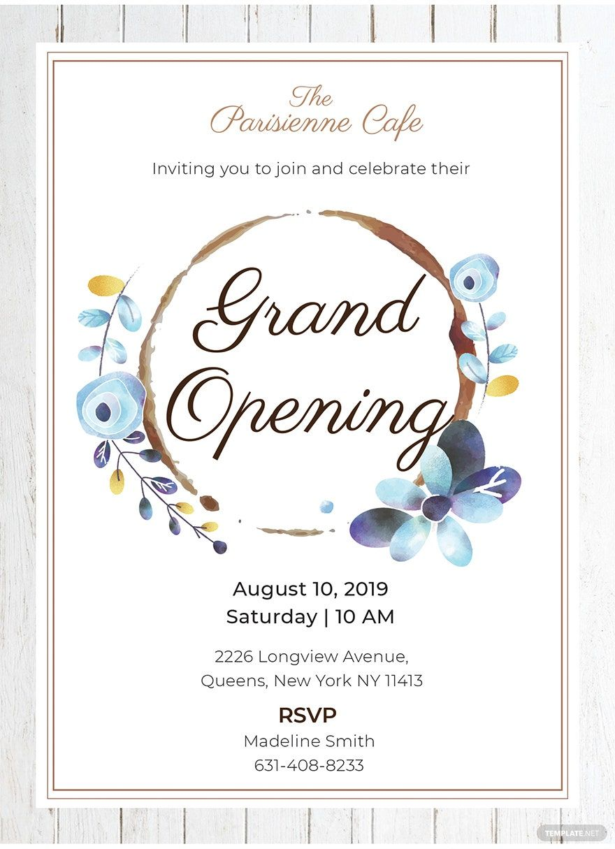 Instantly Download Free Cafe Opening Ceremony Invitation Template Sample Exampl Shop Opening Invitation Card Grand Opening Invitations Free Invitation Cards