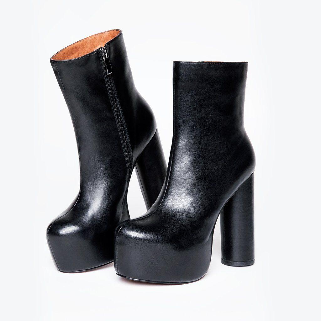 9e3c5e5e39b Black leather platform ankle boot. Zipper closure on inner side. Round  cylinder block heel. 2 inch platform 5 inch heel UPPER  Nappa Leather  LINING  Pigskin ...