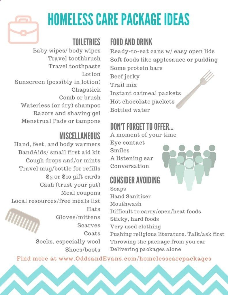 Homeless Care Packages plus Printable checklist and dos