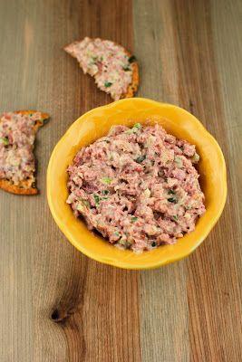 A delicious way to use leftover ham:  ham salad spread.  #ham #snack