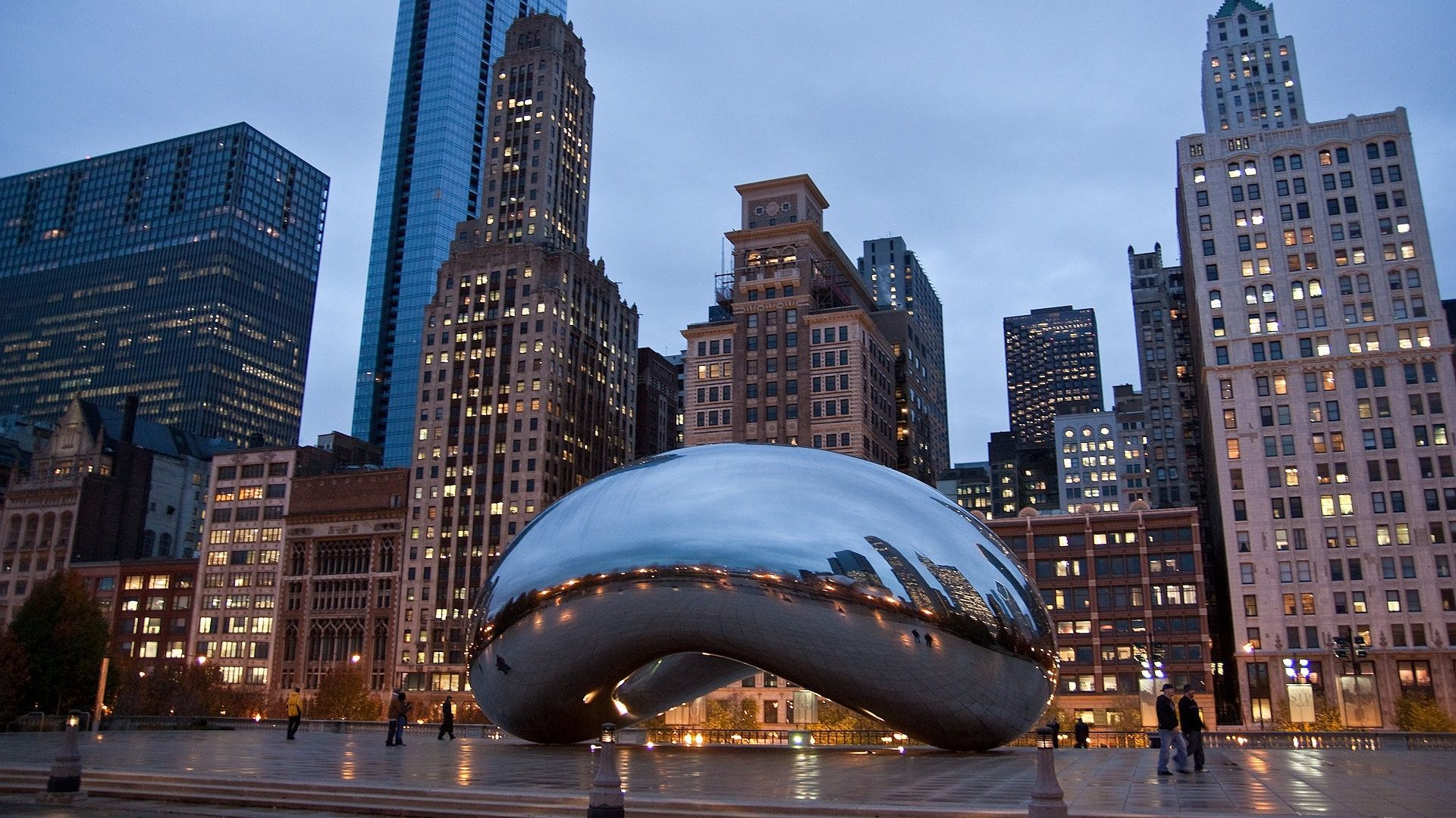 HD Wall Paper 1920X1080 Chicago above is Cloud Gate