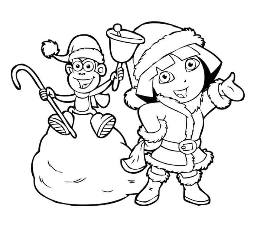 Dora And Boots In Christmas Coloring Pages