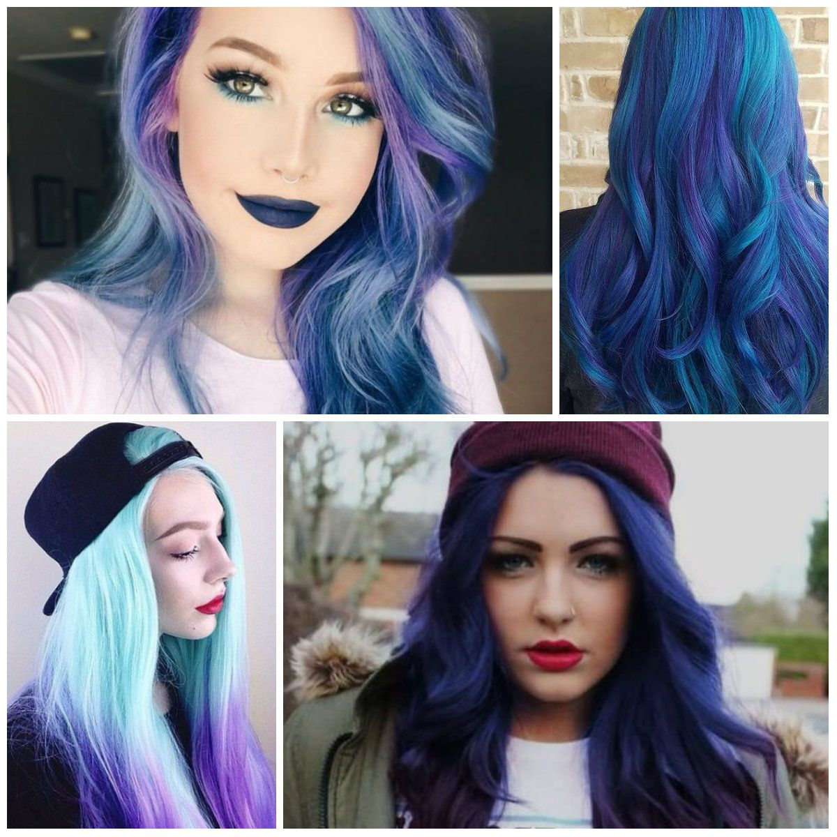 Wonderful blue and purple hair colors for short hairstyles