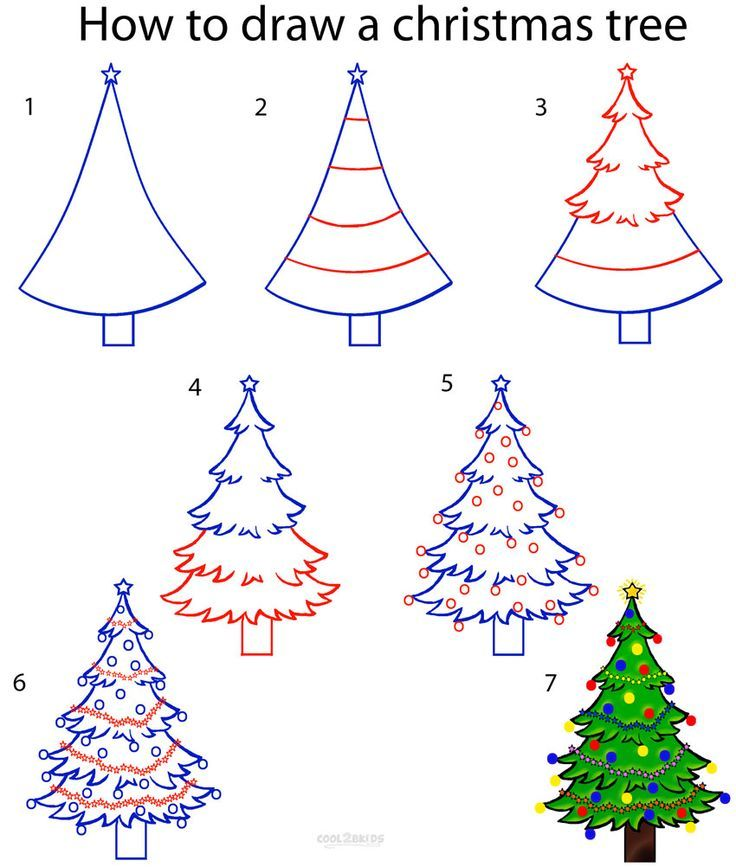 How to draw a christmas tree step by step drawing tutorial with pictures cool2bkids