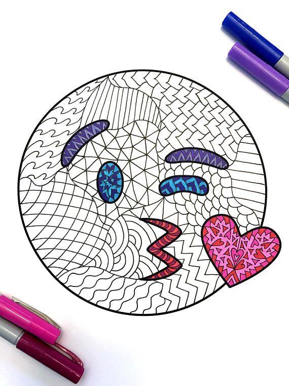 Kiss Emoji Pdf Zentangle Coloring Page En 2019 Dibujos Para