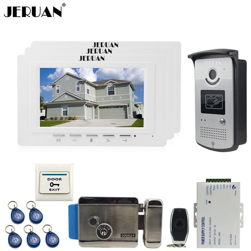 JERUAN luxury 7`` LCD Video Door Phone three 700TVT Camera access